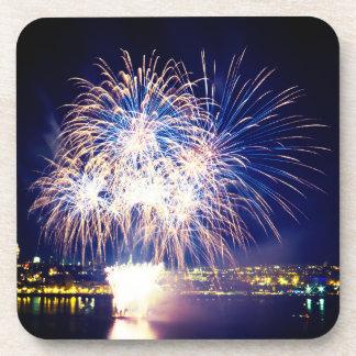 Blue/Golden Fireworks Coaster