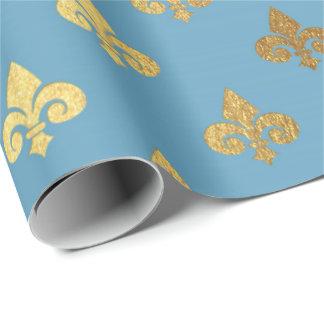 Blue Golden Royal Fior De Lise Ornament Heraldic Wrapping Paper