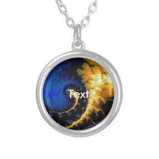Blue Golden Yellow Fractal Round Pendant Necklace