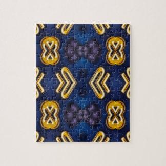 Blue Golden Yellow Masculine Pattern Jigsaw Puzzle