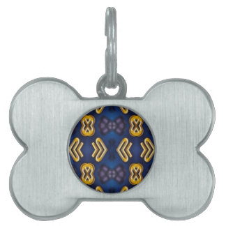 Blue Golden Yellow Masculine Pattern Pet Name Tag