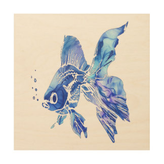 Blue Goldfish Pet Aquarium or pond Fish blue waves Wood Wall Decor