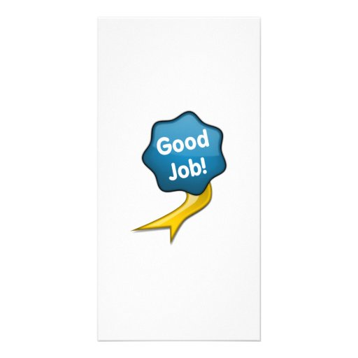 Blue Good Job Ribbon Photo Card