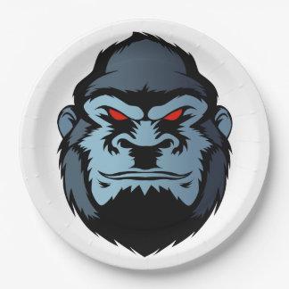 blue gorilla head 9 inch paper plate