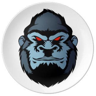 blue gorilla head porcelain plate