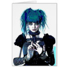 Blue Goth Steampunk Greeting Card
