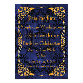Blue Gothic & Gold Framed 18th Save The Date 9 Cm X 13 Cm Invitation Card