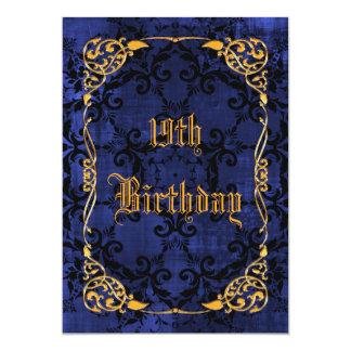 Blue Gothic & Gold Framed 19th Birthday Card
