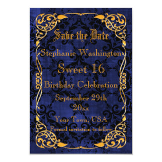 Blue Gothic & Gold Framed Sweet 16 Save The Date 9 Cm X 13 Cm Invitation Card