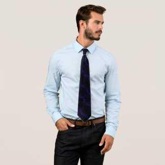 Blue Gothic Pentagram Silk Foulard Tie