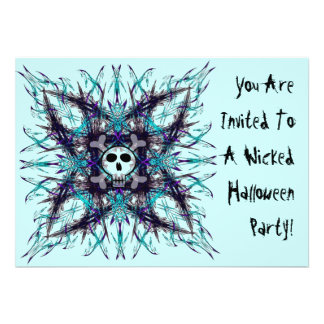 Blue Gothic Skull Fractal Invitation