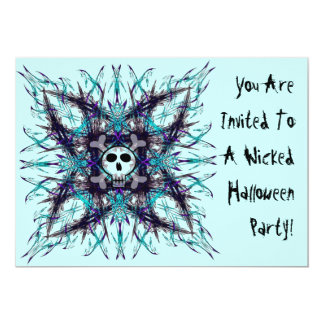 "Blue Gothic Skull Fractal Invitation 5"" X 7"" Invitation Card"