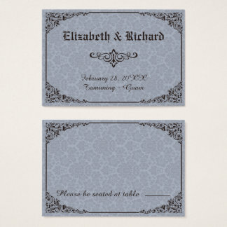 Blue Gothic Victorian Damask Wedding Place Cards