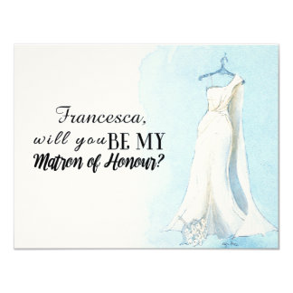 "Blue Gown ""Will you be my matron of honour"" 11 Cm X 14 Cm Invitation Card"