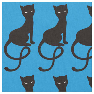 Blue Gracious Evil Black Cat Fabric
