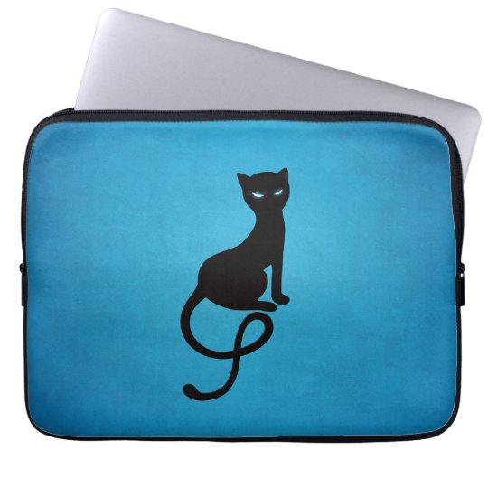 Blue Gracious Evil Black Cat Laptop Sleeve