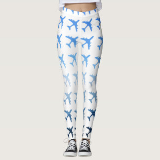 Blue Gradient Airplane Pattern Leggings