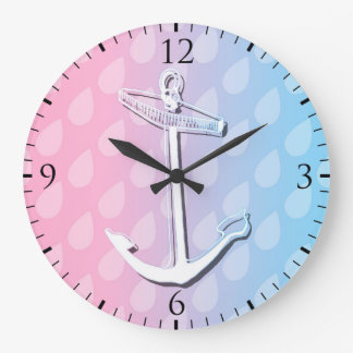 Blue Gradient Anchor Illustration Large Clock