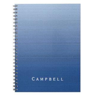 Blue Gradient Ombre Medium Texture Custom Name Spiral Notebook