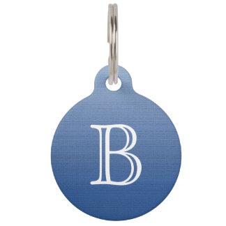 Blue Gradient Ombre Medium Texture Monogram Pet ID Tag