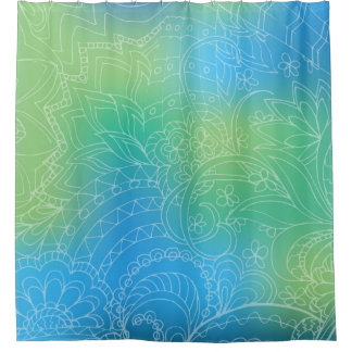 blue gradient zen pattern shower curtain