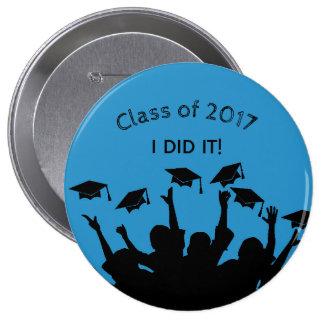 Blue Graduation Cap Gown Cap Toss Personalized 10 Cm Round Badge