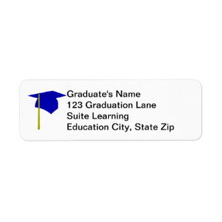 Blue Graduation Cap, Yellow Tassel Address Labels