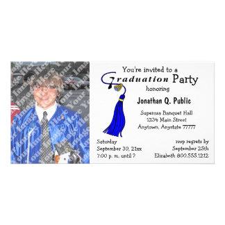 Blue Graduation Party Photo Invitation Photo Greeting Card