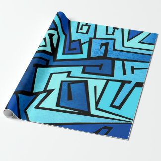Blue graffiti design wrapping paper