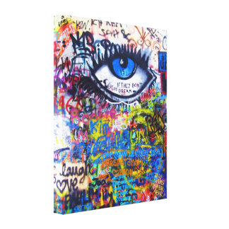 Blue graffiti evil eye canvas prints