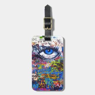 Blue graffiti evil eye luggage tag