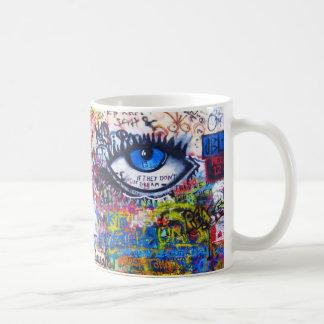 Blue graffiti evil eye basic white mug