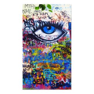 Blue graffiti evil eye pack of standard business cards
