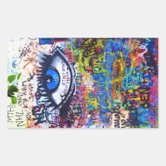 Blue graffiti evil eye stickers