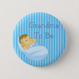 Blue Grandma To Be Baby Shower Button