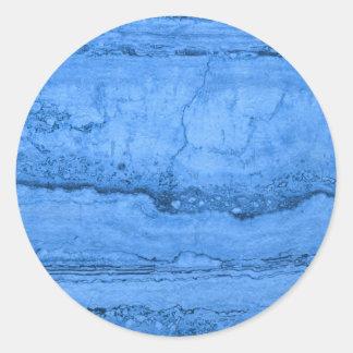 Blue granite classic round sticker
