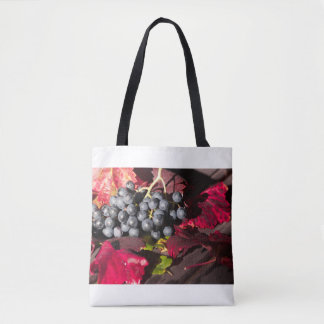 Blue Grapes and Red Vine Leaves Tote Bag