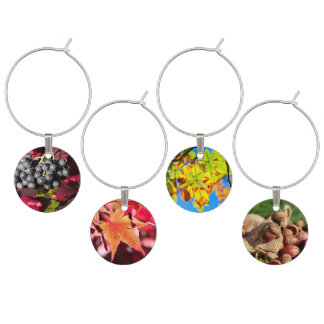 Blue Grapes and Red Vine Leaves Wine Charm