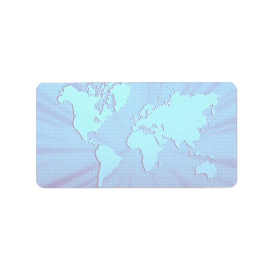 Blue graphic world map bed label