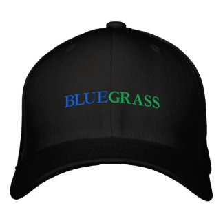 BLUE, GRASS EMBROIDERED HAT