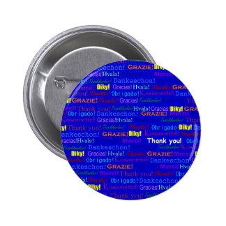 Blue Gratitude 6 Cm Round Badge