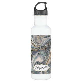 Blue Gray and Gold Marble Effect Personalized 710 Ml Water Bottle