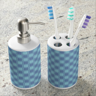 Blue/Gray and Pastel Blue Outlined Squares Bathroom Set
