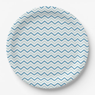 Blue Gray and White Chevron Paper Plate