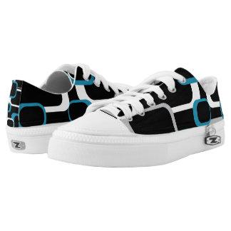 Blue Gray and White Retro Squares Black Printed Shoes