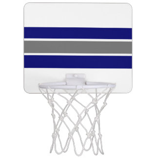 Blue Gray and White Strip Design Mini Basketball Hoop