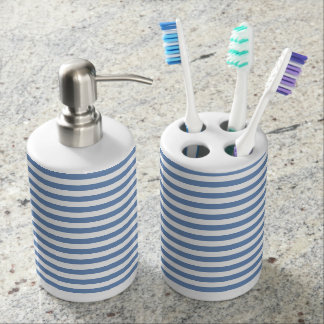 Blue/Gray and White Stripes Bathroom Set