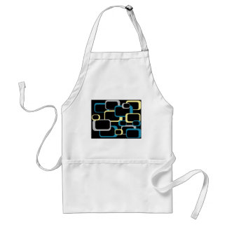 Blue Gray and Yellow Retro Squares Standard Apron