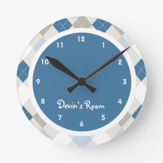 Blue & Gray Argyle Kid's Bedroom Wall Clock