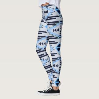 Blue Gray Aztec Tribal Pattern Leggings